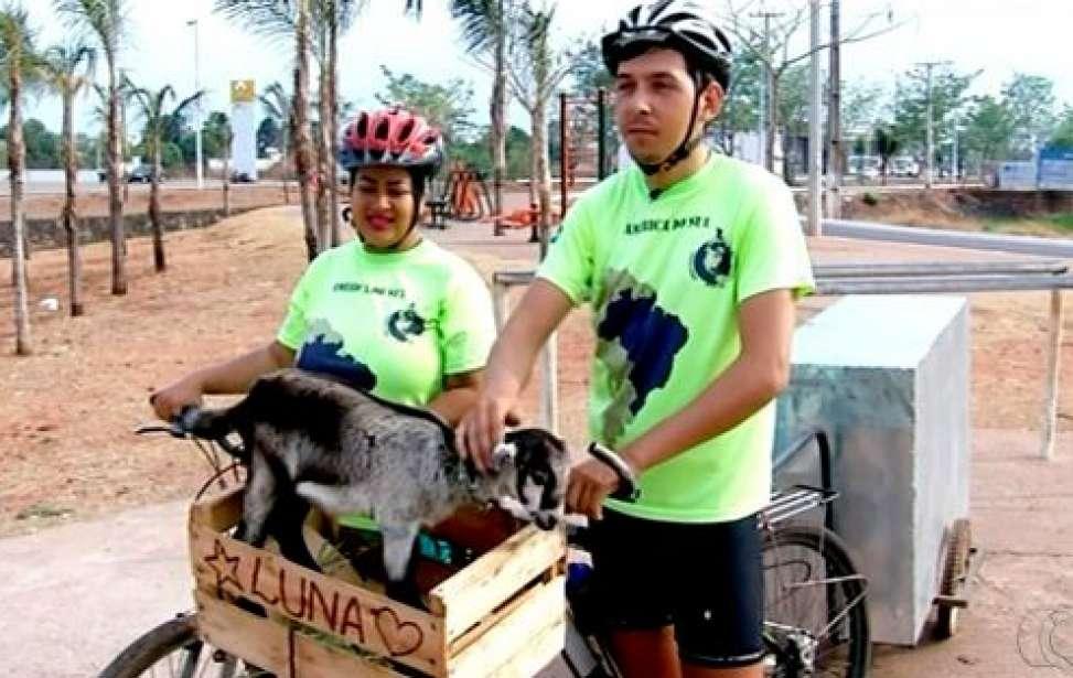 Bikers Rio Pardo   SUA HISTÓRIA   Casal larga tudo e viaja pelo Brasil de bicicleta carregando cabrita de estimação